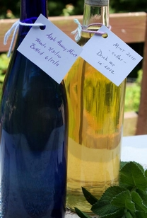 two bottles of homemade mint wine